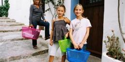 cestas de plástico reutilizables